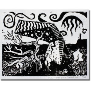 Cracked Bastion is a black and white lino-cut print showing a distorted concrete fortification and a twisted windswept tree.