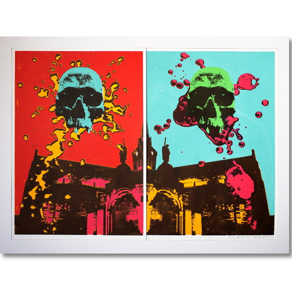 someone elses head st magnus cathedral skull martin scott laird screen print for sale