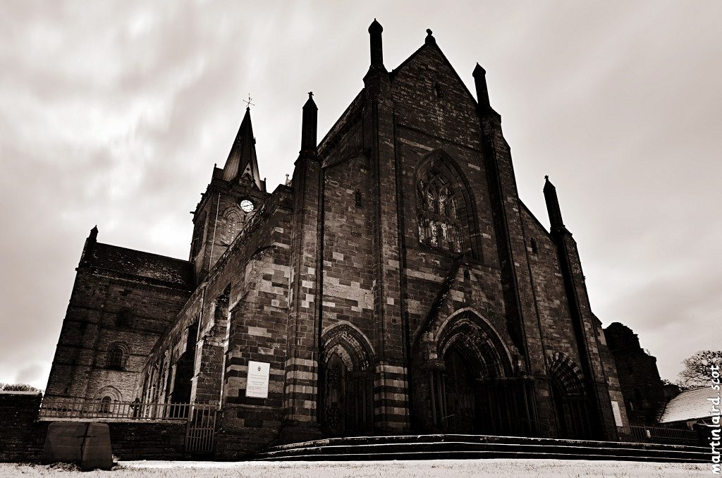 photo of st magnus cathedral snow kirkwall orkney martin scott laird