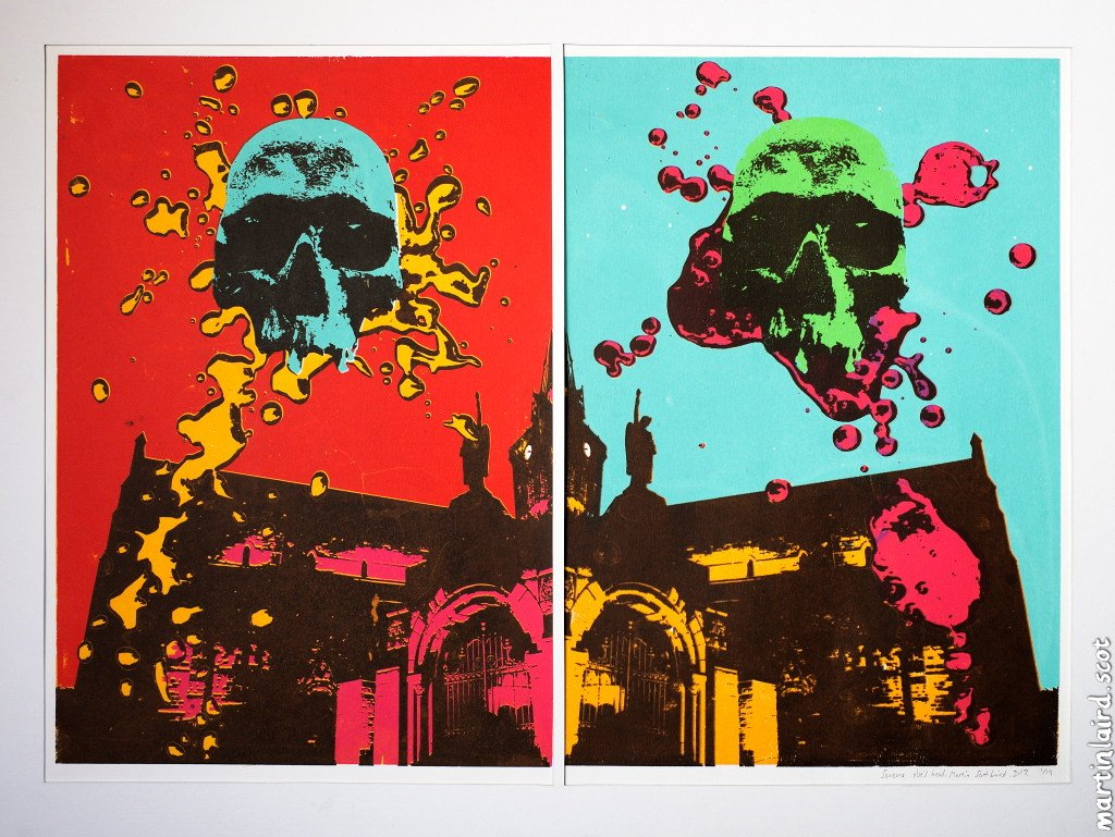 "screen print called ""someone else's head"" of st magnus cathedral skull martin scott laird"