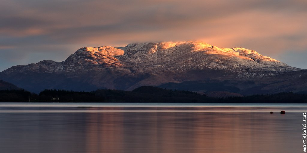 Photo of Ben Lomond at sunrise with the loch in the foreground, by Martin Scott Laird 2017