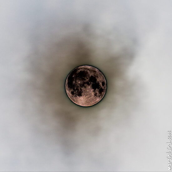 Photo of the January 2018 wolf moon supermoon with a grain extraction effect, by Martin Laird.