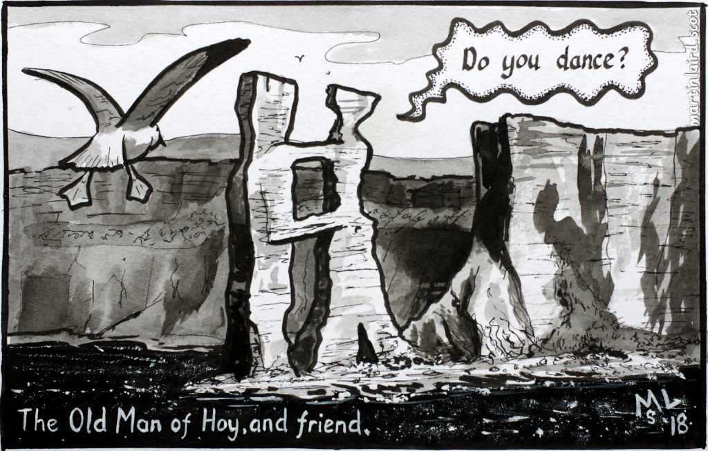 "A cartoon of the Old Man of Hoy in Orkney, with his arms around another sea stack figure who is asking ""Do you dance?"""