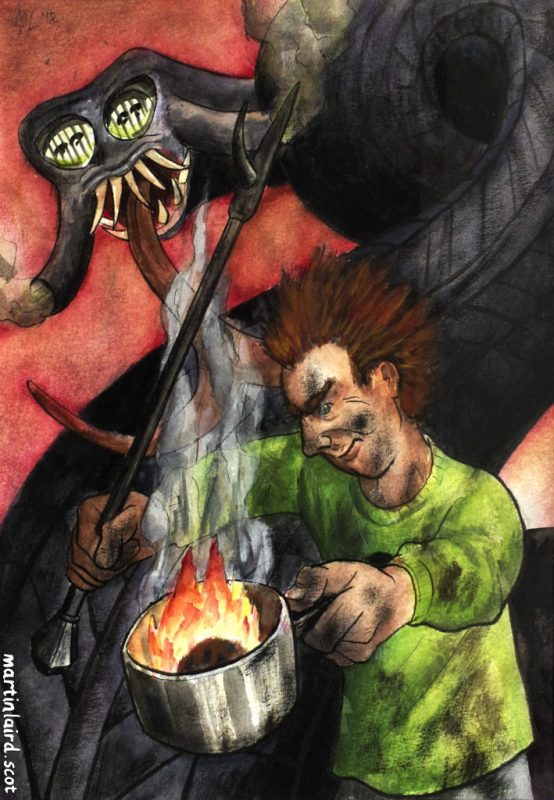 The red-haired seventh son Assipattle dressed in a dirty green shirt, holding a poker and a pot of burning peat, which he will use against the Stoor Worm, a monster which towers over him.