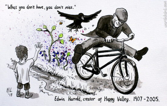 Edwin Harrold riding his bicycle fast with his pet rook flying beside. Plants grow in his wake and a little boy waves at him.