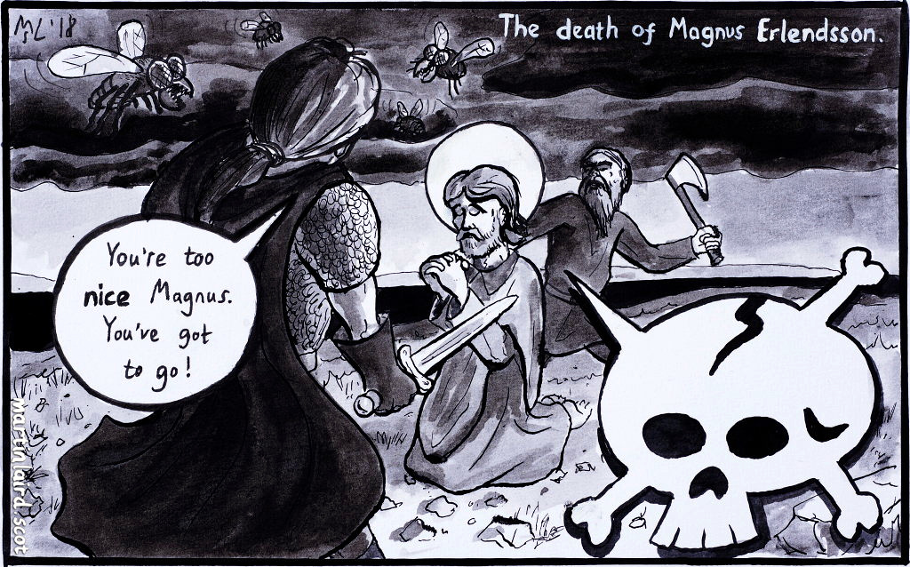 """Magnus Erlendsson prays while the cook prepares to kill him. His cousin Haakon says """"You're too nice Magnus. You've got to go!"""""""
