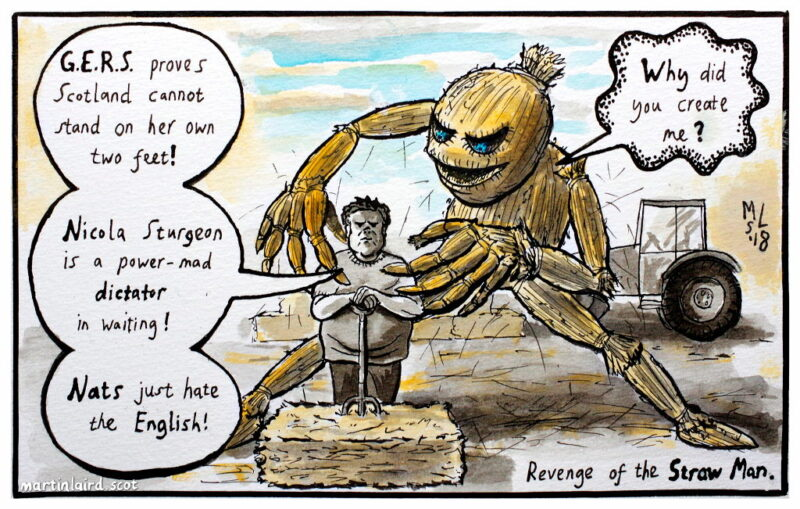"An Orkney farmer repeats a number of fallacious arguments about Scottish independence. A giant straw man is about to throttle him, asking ""Why did you create me?""."