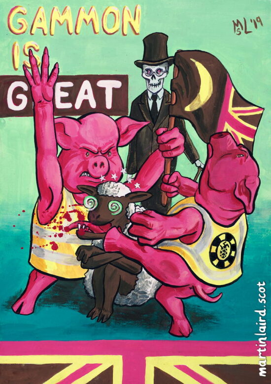 Two pigs in yellow vests beating up a black sheep which a grinning skeleton in a top hat looks on. Gammon is Great.
