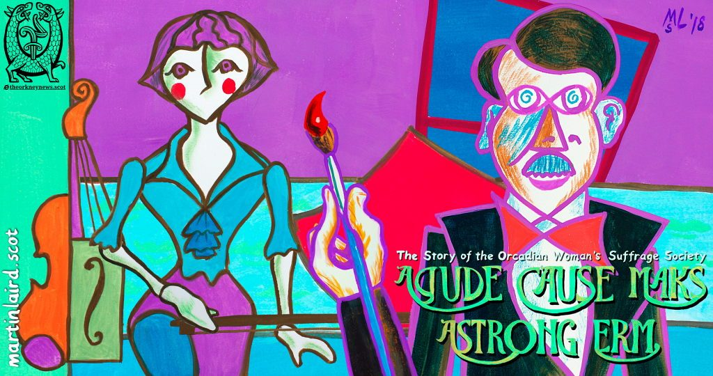 Still from A Gude Cause Maks A Strong Erm, the animated story of the Orcadian Woman's Suffrage Society, showing artist Stanley Cursiter with Phyllis Hourston