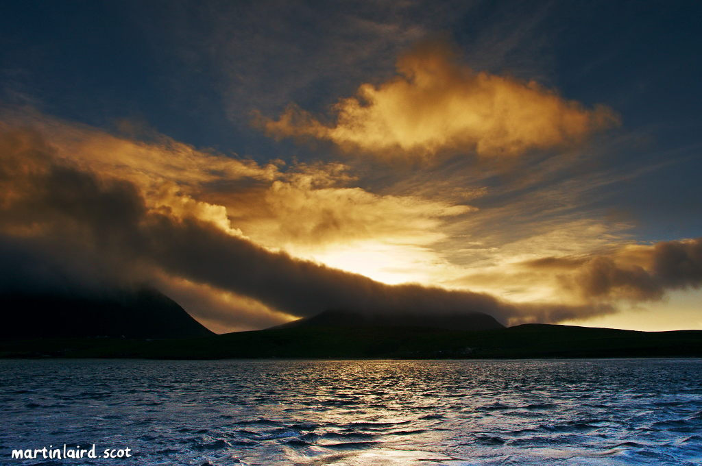 Dramatic clouds over Hoy, seen from the ferry from Moaness to Houton.