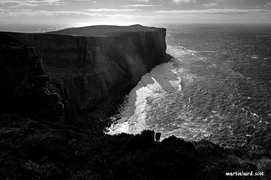 black and white photograph of Rora Head, Hoy