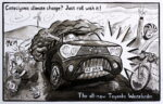Cataclysmic climate change? Just roll with it! The all-new Toyanka Wastelander. Gas-guzzling SUV driver throws rubbish at a walker while potentially fatally close-passing a cyclist.