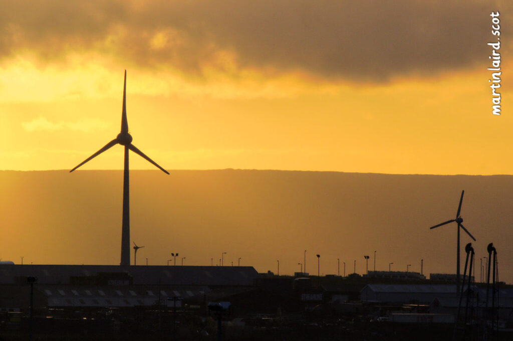 67m wind turbine located in Hatston, Kirkwall, seen from an unusual vantage point.