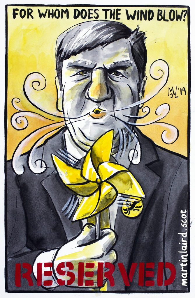 For Whom does the Wind Blow, energy policy being reserved to Westminster? Cartoon depicting Alistair Carmichael MP blowing a paper wind turbine. Pen, ink & gouache, 2019.