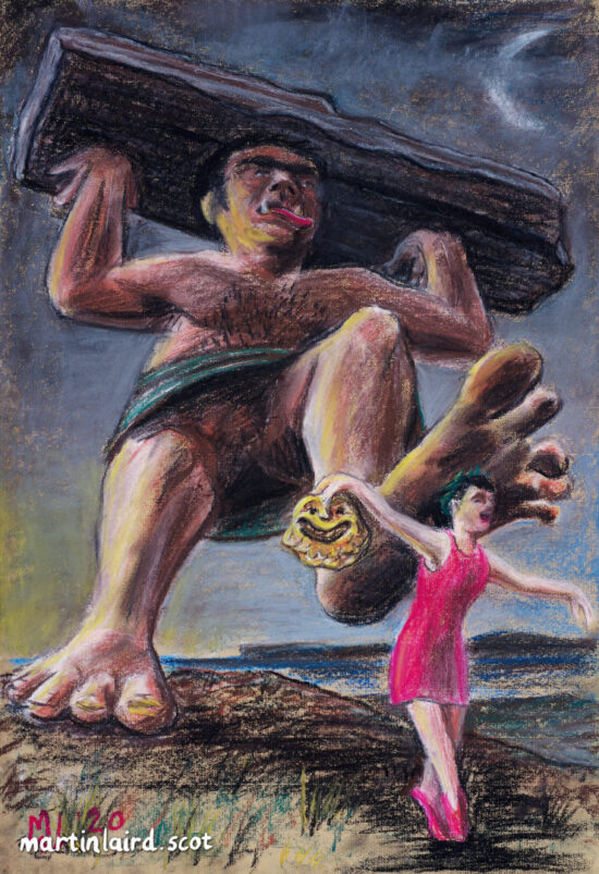 Orcadian giant Cubby Roo lifting a large rock over his head and preparing to squish the Muse of Comedy