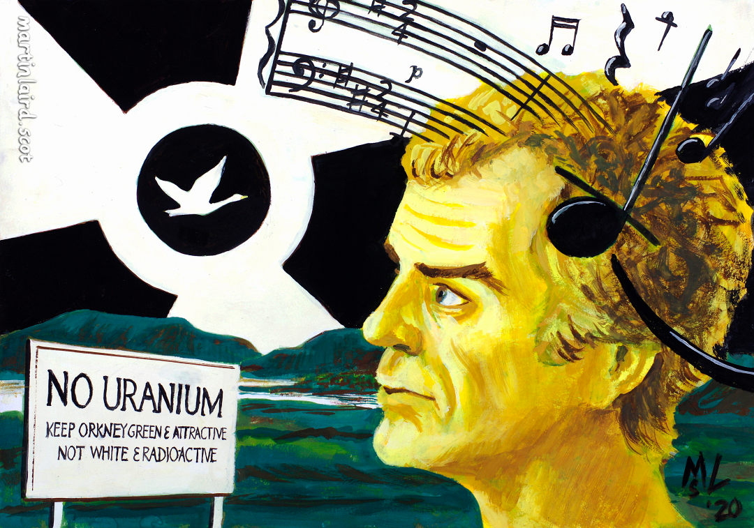 Peter Maxwell Davies with the No Uranium mining protest sign, a nuclear symbol, notation from his Yellow Cake Revue, and a swan.
