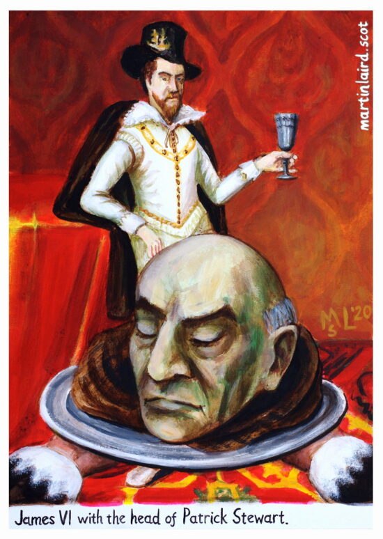 King James VI with the head of Patrick Stewart, Earl of Orkney, who was beheaded for treason. Acrylic, 2020.