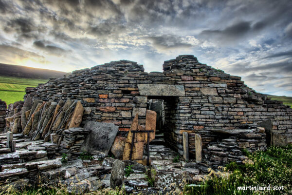 Midhowe Broch HDR photograph taken at sunrise on Rousay, Orkney, by Orcadian artist Martin Scott Laird.