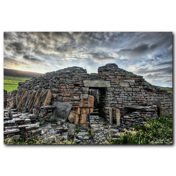 Buy prints of Midhowe Broch on Rousay by Orcadian artist Martin Laird. Professionally printed on beautiful metallic paper which makes the stonework glint.