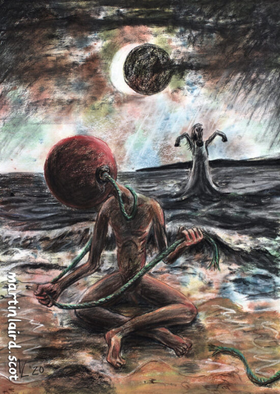 Manish Buoy - a sad man with a buoy for a head, sitting cross-legged on the shoreline with a Kelpie in the water. There is a solar eclipse in the sky and an impending storm.