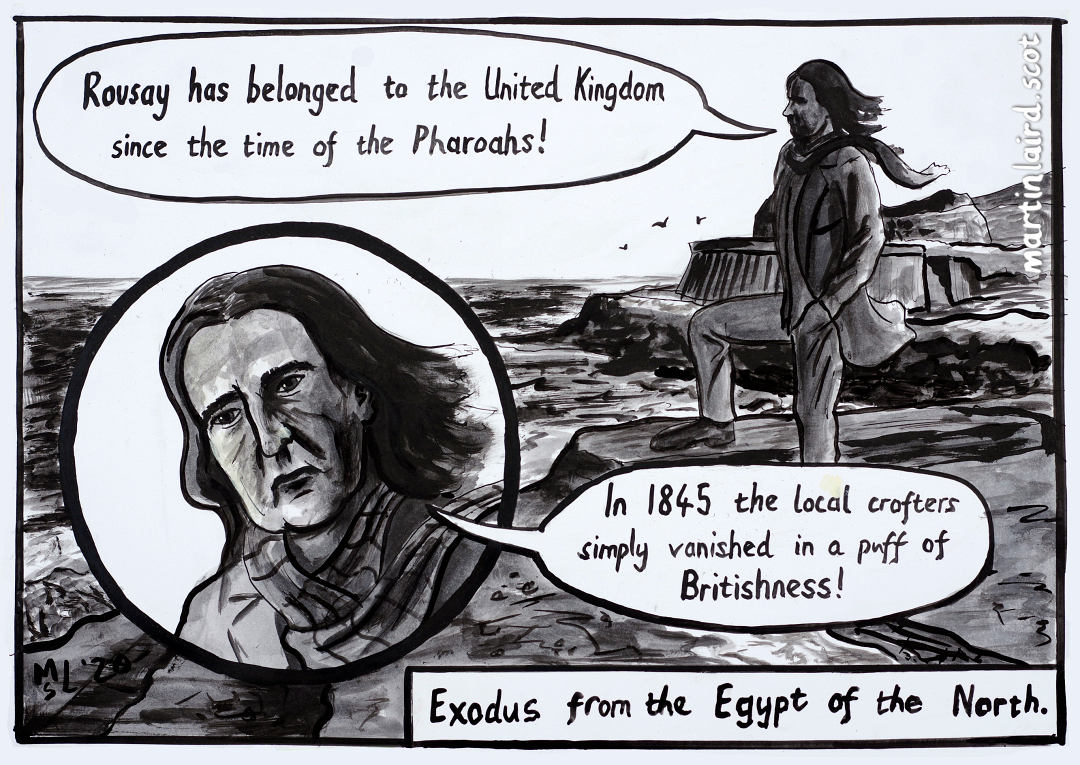 Exodus from the Egypt of the North. Neil Oliver dispensing his brand of ill-informed, biased, alternative history, his lank locks billowing in the wind.