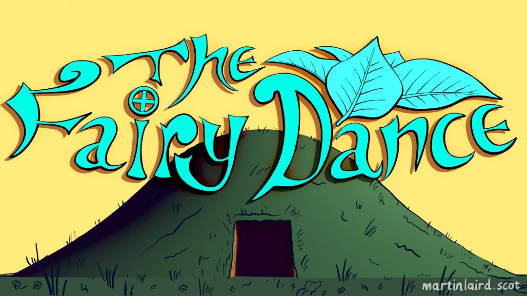 The Fairy Dance - an cartoon earth mound chambered cairn with a yellow sky