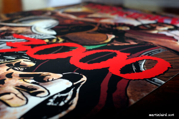 """Close-up detail of A3 print of """"This is Kirkwa'"""", artwork by Martin Laird"""