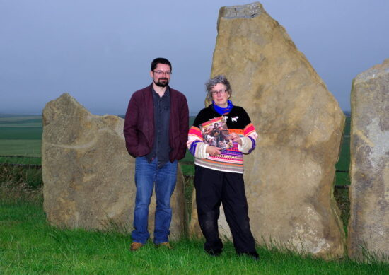 Fiona Grahame & Martin Laird at Bragi's Open Circle, with standing stones at the Kristin Linklater voice centre, Orkney.