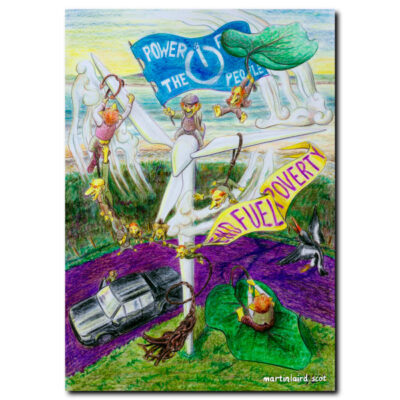 Power for the People - End Fuel Poverty - Orcadian Trows assaulting a wind turbine, flying on simmans and dock leaves. Fine art print of pencil drawing by Martin Laird.